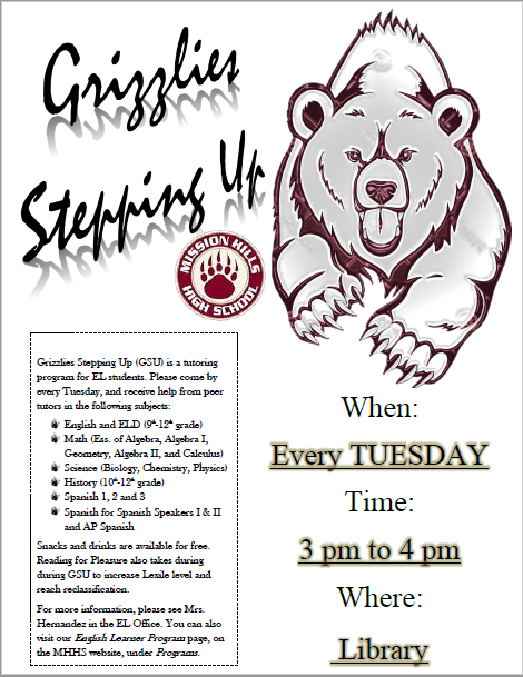 Grizzlies Stepping Up. Every Tuesday 3-4 pm in the Library.