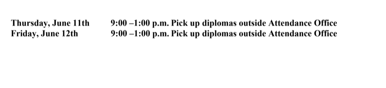 picking up diploma dates