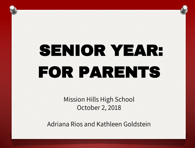 Senior year for parents flyer