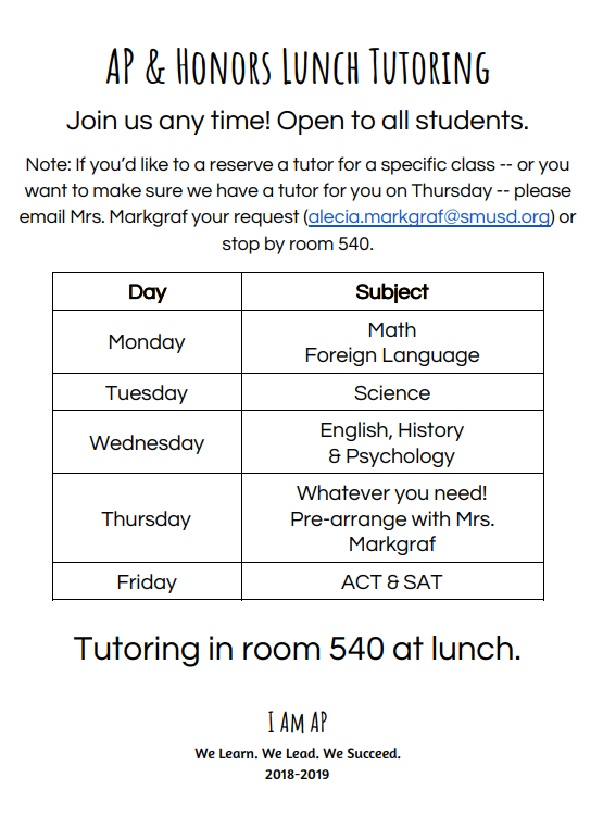 Ap & Honors Lunch Tutoring