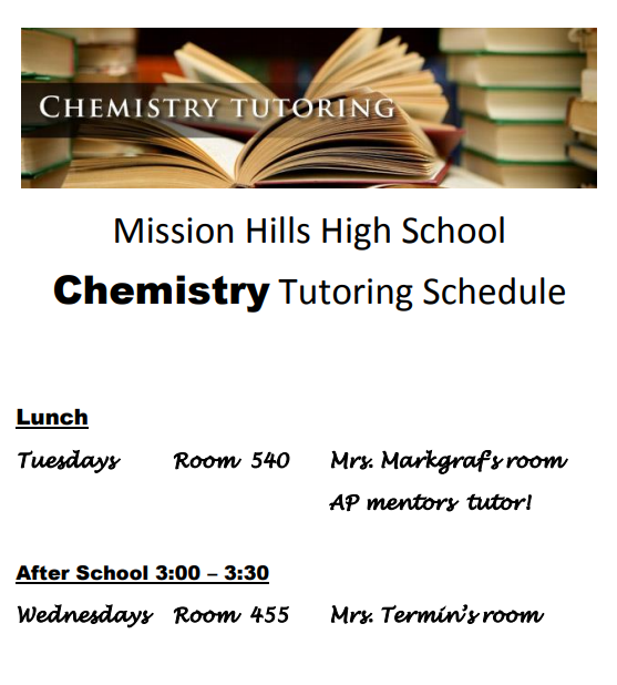 Chemistry tutoring schedule
