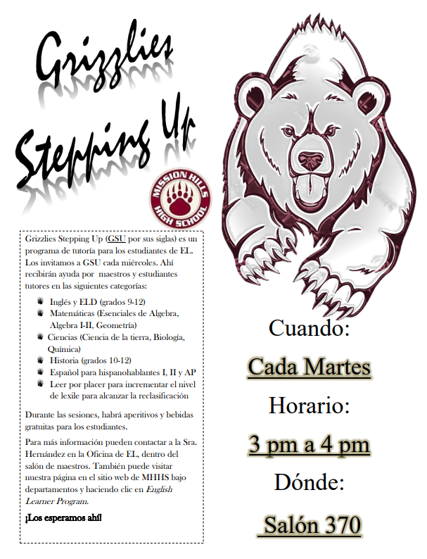EL Tutoring Schedule Spanish Flyer